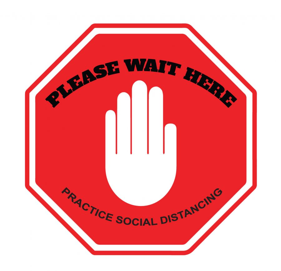 Please Wait Here - Social Distancing  Floor Decal (Black/Red)