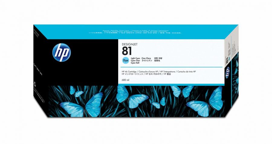 HP 81 Light Cyan Dye Ink Cartridge (680 ml) - C4934A