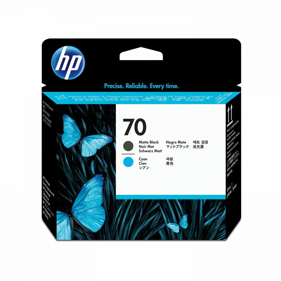 HP 70 Matte Black/Cyan Printhead -  C9404A