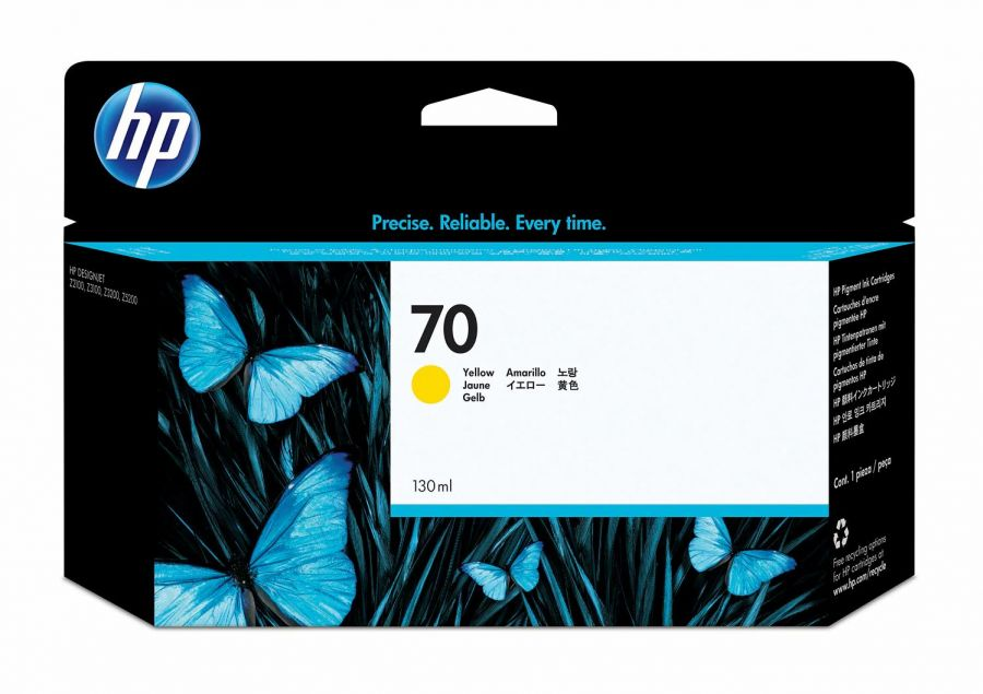 HP 70 130-ml Yellow DesignJet Ink Cartridge - C9454A