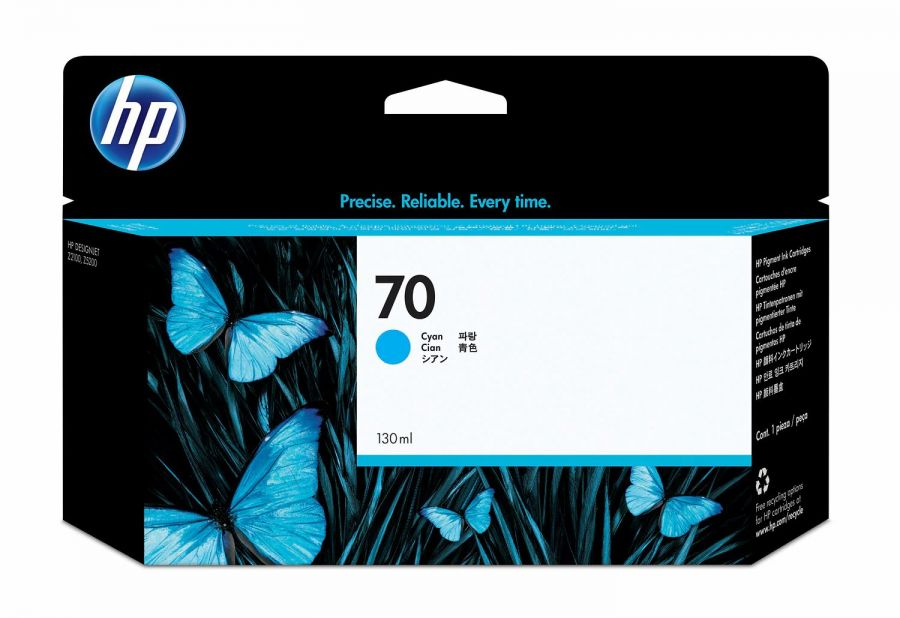 HP 70 130-ml Cyan DesignJet Ink Cartridge - C9452A