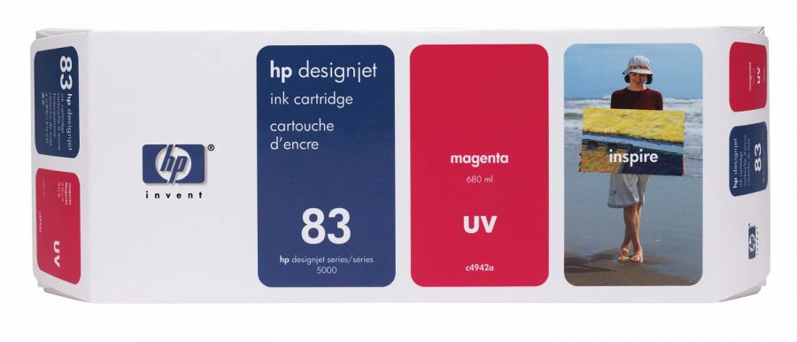 HP 83 Magenta UV Ink Cartridge (680 ml) - C4942A