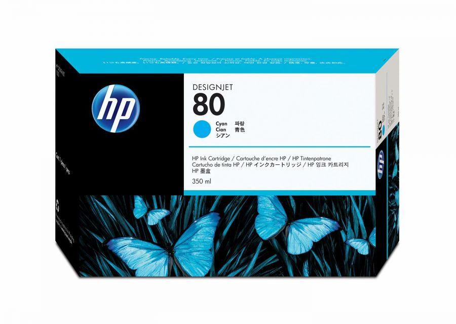 HP 80 Cyan Ink Cartridge (350 ml) - C4846A