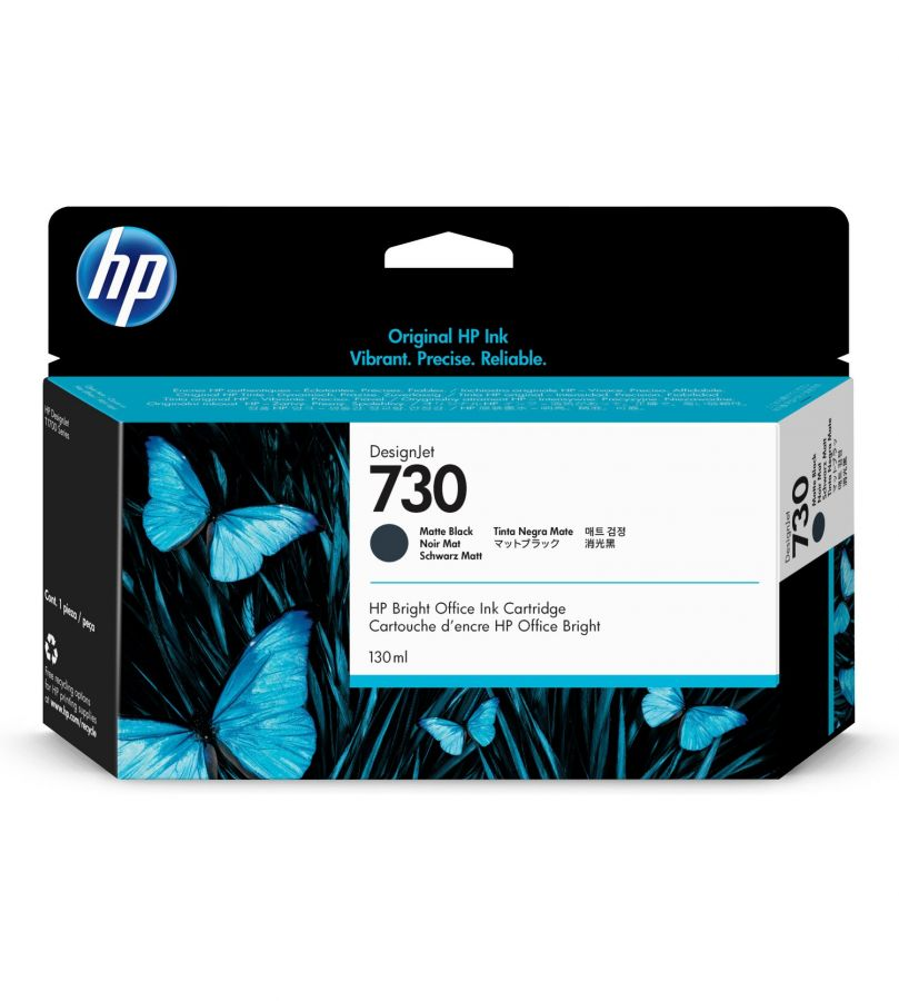 HP 730 130-ml Matte Black DesignJet Ink Cartridge - P2V65A