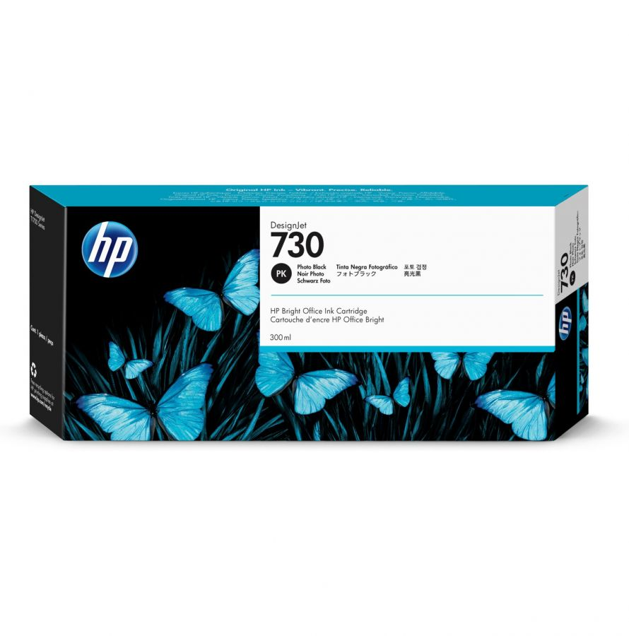 HP 730 300-ml Photo Black DesignJet Ink Cartridge - P2V73A