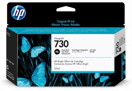 HP 730 130-ml Photo Black DesignJet Ink Cartridge - P2V67A