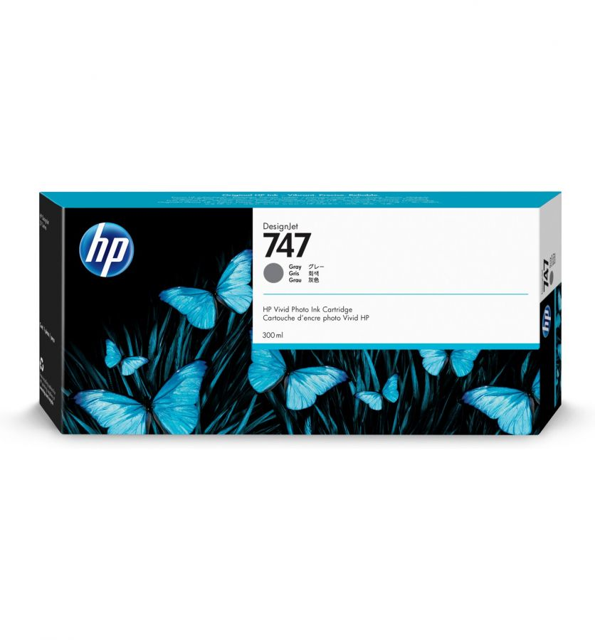 HP 747 300-ml Gray DesignJet Ink Cartridge - P2V86A