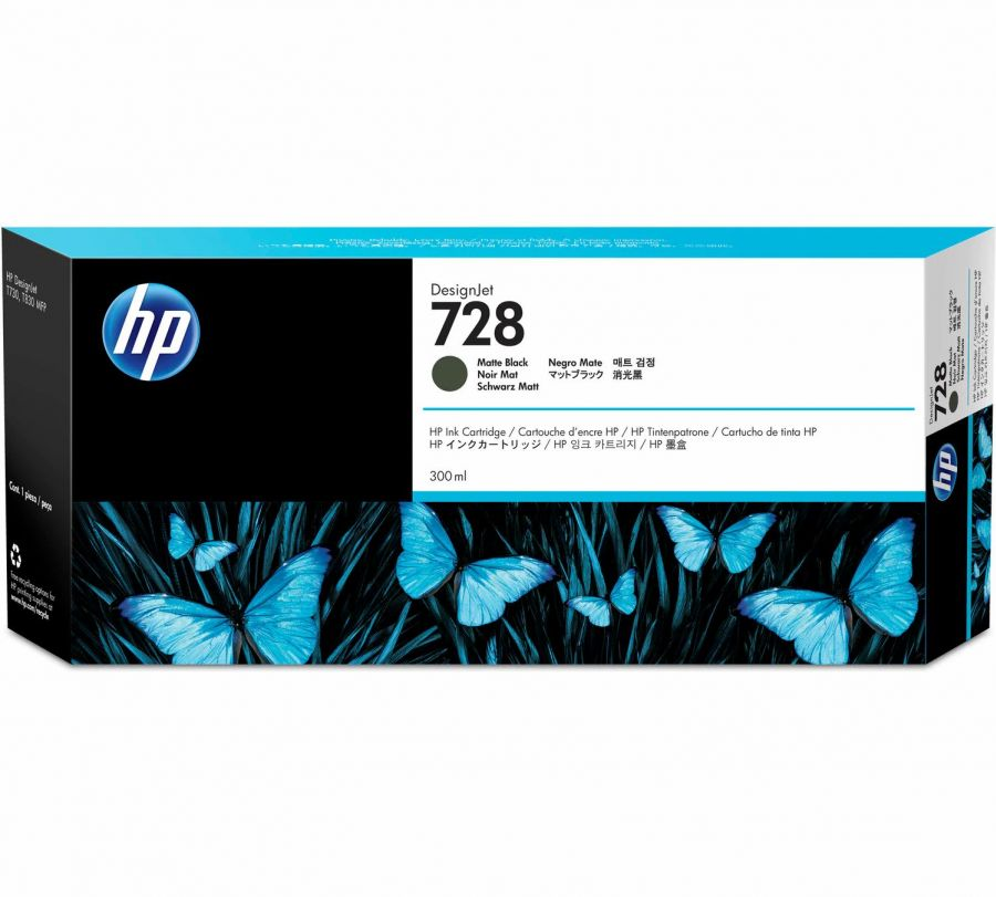 HP 728 300-ml Matte Black DesignJet Ink Cartridge - F9J68A